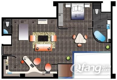 一室一厅60平米设计图展示